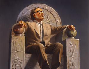 Particolare del ritratto di Asimov dipinto dall'artista statunitense Rowena Morrill, specializzata in illustrazioni per romanzi fantasy e fantascientifici.